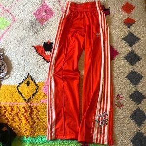 Burnt orange wide leg Adidas sweatpants size xs
